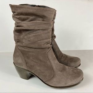 NAOT 38 Brown Nubuck Leather Slouchy Heeled Boots